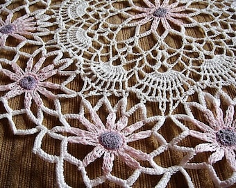 Pink Daisy Crocheted Doily Girls Room Doily Pink Doily