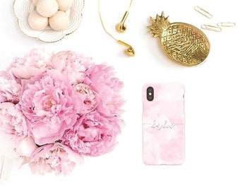 Personalized iPhone case, personalized Samsung case, pink iPhone case, pink Samsung case, iPhone X, iPhone 8 Plus, iPhone 6, iPhone 5