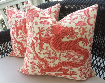 Scalamandre Pillow Cover in Chien Dragon In persimmon- Linen, Coordinating Cream Woven Backing