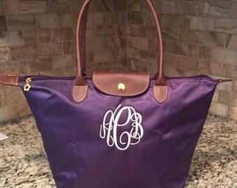 Monogramed Tote Bag, Personalized Nylon Purse, Travel Tote, Bridesmaid's Gifts, Sorority Tote, Embroidered Tote, Tote Bag, Preppy Tote Bag,