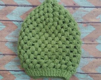 Green Shimmer Puff Stitch Hat
