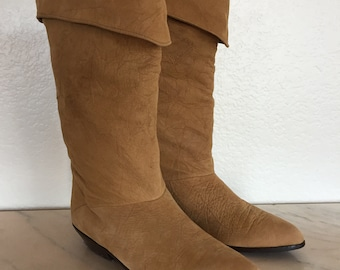 ZODIAC Vintage Crinkle SLOUCH Fold Over Top Cowboy Boots Tan Leather Size 7.5