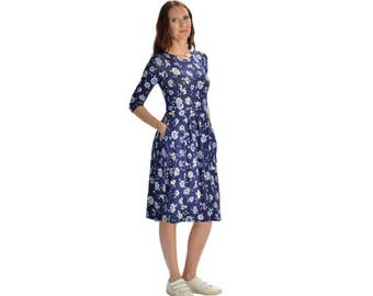 KMW Ladies Playdress, Midi Dress, Casual Dress, Modest Dress, Dress with pockets, Print dress, floral dress, blue dress