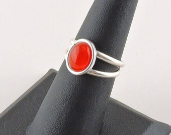 Size 6.5 Sterling Silver 2.25ct Oval Red/Orange Rhinestone Ring