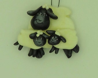 Ewe with lambs Ornament, Twin Lamb Ornaments,Sheep Ornament,Lamb Ornament,Farm Ornament, Hand Painted,Clay Ornament,Christmas Ornament