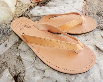 Artisan grec couleur naturel fait à la main en cuir Flip Flop / Ancient sandales en cuir grec