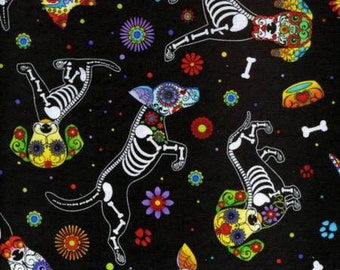 Timeless Treasures Black Day of The Dead Pups fabric - 1 yard