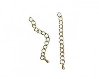 20 extension with drop pendant chains bronze 6.2 cm