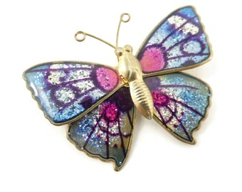 Vintage Sparkle, Butterfly Brooch, Gold Tone