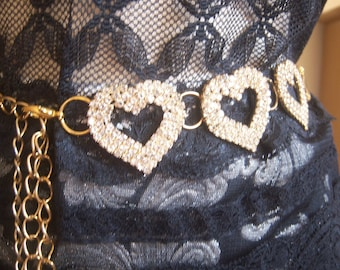 Vintage rhinestone hearts belt / gold mesh rope belt / gold chain rhinestone belt / Sparkly glam small medium