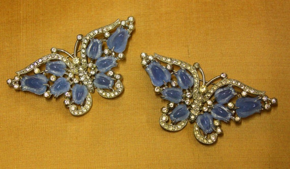 Unsigned Coro Butterfly pair of fruit salad brooches