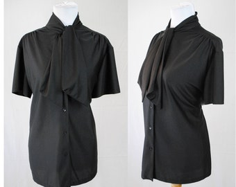 1970s Black Necktie Blouse // Vintage Short Sleeve Blouse // Witchy Top // 70s Witchy Top / Gothic / Victorian Blouse Size Large / Witchy