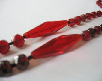 Art Deco Red Glass Necklace, Faceted Glass Beads, Ruby Red, 1930's, Tapered Focal, Classic Vintage