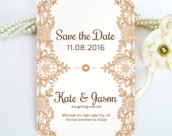 Lace Save the Date cards printed on luxury pearlescent paper | vintage brown save the date invitations | Pesonalized save the date cards
