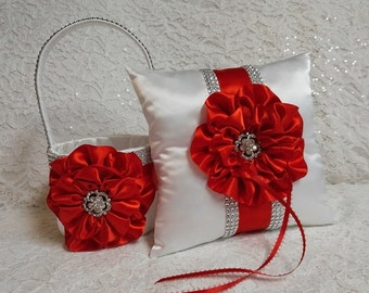 Flower Girl Basket and Ring Bearer Pillow Set in Bright Red and White with Rhinestone Mesh handle and Trim, Made to Order