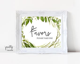 Wedding Favor Sign, Favors Sign, Foliage, Greenery Printable Wedding Sign, Instant Download, Reception Sign, Calligraphy, PDF, JPG (Emily)