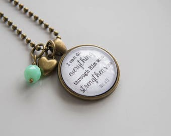 Scripture Necklace - Phil 4:13 Christian Jewelry Scripture Pendant Bible Verse - I Can Do Everything Inspirational Custom Gift Woman Church