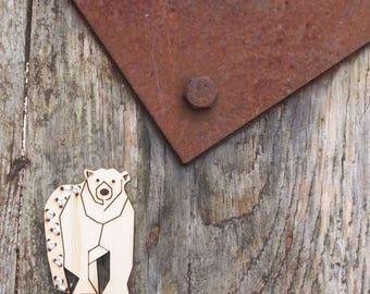 Polar bear brooch, laser cut jewellery.