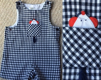 Eiseman gingham shortalls with moveable mouse in pocket