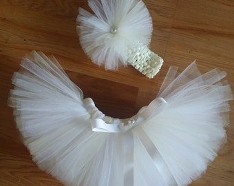 Ivory and White Tutu, Size 12M and up