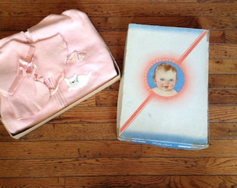 Vintage Baby Bunting and Hat in Box Baby Wear