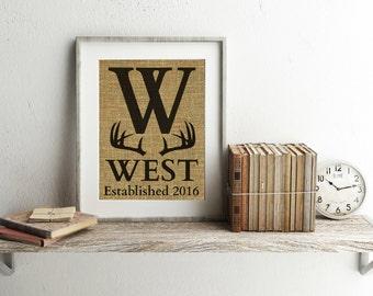Personalized Country Wedding Gift - Deer Decor - Deer Wedding - Antler Print - Antler Decor - Country Wedding - Monogram Burlap Print