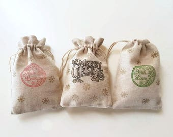 Christmas muslin cotton drawstring bags, Christmas pouches, hand stamped (set of 6)
