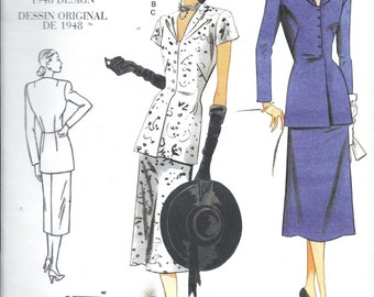 Vogue V1072 Vintage 1940s Suit WWII Era Summer or Winter 2-Pc Dress Sewing Pattern Size 4, 6, 8 and 10