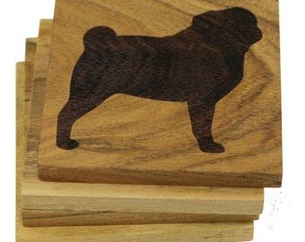 Pug Coasters - Set of 4 Engraved Acacia Wood Coasters