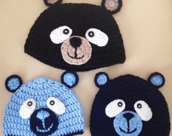 Crochet baby hat, crochet baby hat bear, hat bear, newborn crochet hat