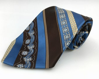 Vintage 1970s Wide Brown Polyester Tie with Blue Patterned Stripes by Britannia
