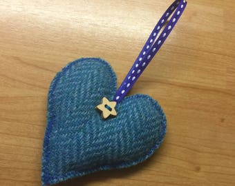 Harris Tweed hanging lavender heart, heart hanger, tweed heart, lavender gift, hanging heart, made in scotland, small gift, housewarming