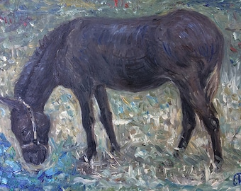 Original Oil Color Painting On Canvas Panel Of A Donkey, Size 24 cm x 18 cm