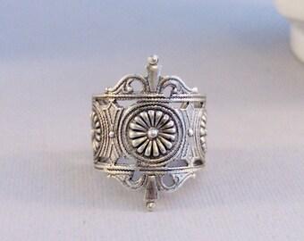 Viking Flower,Flower Ring,Viking Ring,Silver Ring,Floral Ring,Spoon Ring,Antique Ring,Ring,Victorian Ring,Vintage STyle, valleygirldesigns