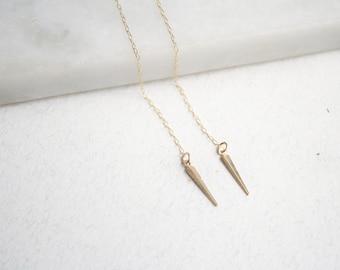 Gold threader earrings, Threader chain earrings, Gold spike earrings, Gold filled pull through earrings, Simple chain earring, Spike jewelry