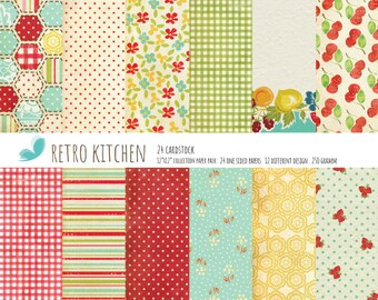 """Retro Kitchen Paper Pad Kitchen Scrapbooking One-Sided Paper Pad 12""""X12"""" Cardstock Paper Pack"""