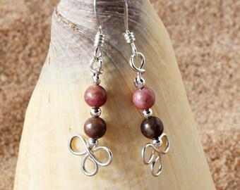Sterling Silver Earrings. Clover. Rhodonite. Pink Earrings. Shamrock. Dainty Earrings. Gift for Women. Unique Jewelry. Wire Work Earrings