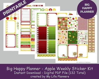 Apple BIG Happy Planner Printable Stickers, Weekly Kit, Planner Kit, Printable Stickers, BIG Happy Planner, Instant PDF Download