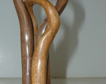 Gift for Dearest, hand carved abstract wood sculpture representing two connected people