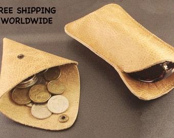 LIVRAISON gratuite l'ETUI a lunettes Vintage en cuir et pour la monnaie, idée cadeau, Housse Etui cuir, pièce de monnaie sac vintage pochette monnaie triangle en cuir