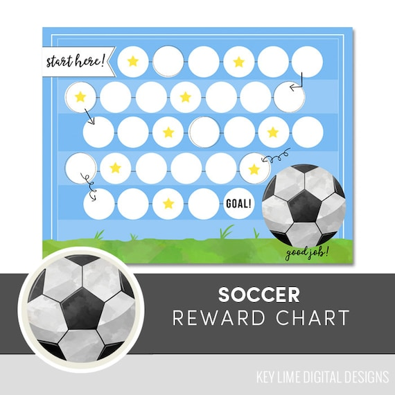 Kids Reward Chart Soccer Printable Kids Chore Chart