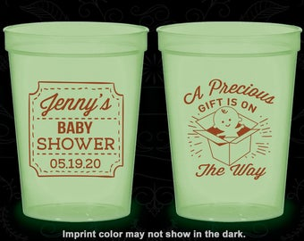 Baby Announcement, Glow in the Dark Baby Shower Cups, Baby Reveal Ideas, Boy or Girl, Glow Baby Shower Party (90057)
