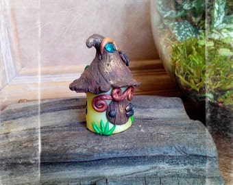 Tiny Fairy Garden House in Custom Color Polymer Clay with Rustic Thatched Roof and Crystal for Teacup garden Terrariums miniature accessory