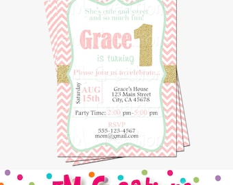 Pink Mint Gold Invitation - First Birthday Party Invitation - Gold 1 Printable Invitation - Pink and Gold First Birthday - Chevron