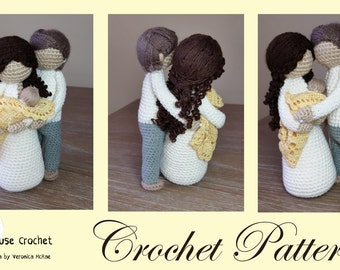 Crochet Pattern Package. Mother nursing newborn EVE and JAMIE and Father ADAM