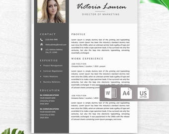 Professional Resume with Photo, Resume Template 3 Page Modern Resume Template, Resume Template, A4 and US Letter, References + Cover Letter