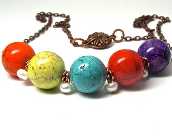 Statement piece ~ Colorful magnesite gemstones ~  freshwater pearls ~  copper necklace with a magnetic clasp ~ large ~ bold ~ bright ~ OOAK