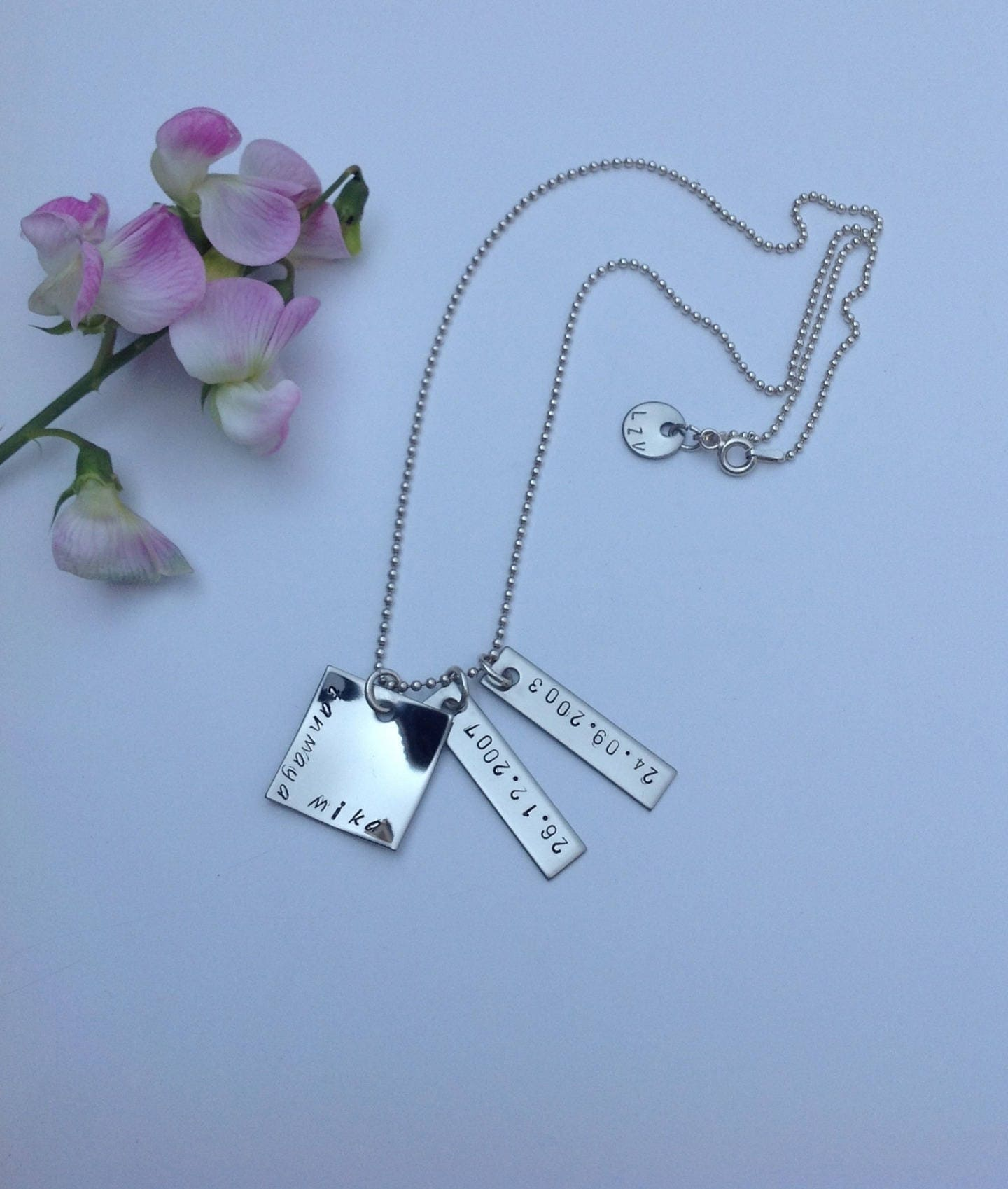 dainty personalized silver necklace small name custom baby sterling children pin kids