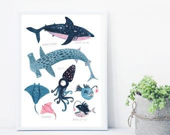 Whale Print, Whale Illustration, Hammerhead Print, Anglerfish Print, Reef Print, Childrens Print, Childrens decor, Nursery wall art