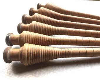 Vintage Japanese Wood Spindle - Vintage Spindle - Japanese Spindle - Wood Spool - Wood Bobbin Vintage Spool Vintage Bobbin (Set2) Metal Tip
